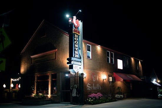 The Red Rooster: Red Rooster lights up at night