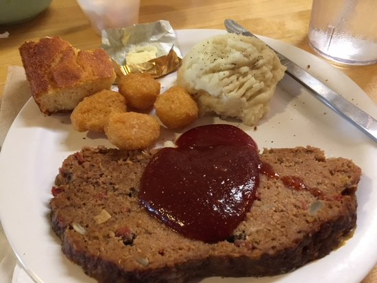 Christiana, TN: Meatloaf with BBQ Sauce, Mashed Potatoes, Corn Nuggets