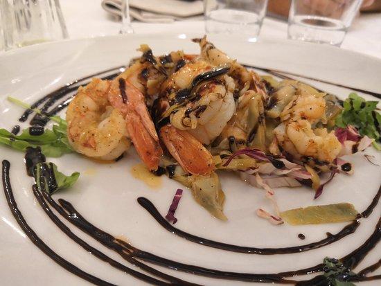 Habana Cafe: Un piatto che da solo fa la differenza.. Gamberi come burro con carciofi e aceto balsamico. Prez