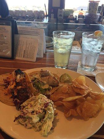 Brigantine Seafood Restaurant: Mahi Mahi and Swordfish taco plate. Totally got me hooked on fish tacos! Great Coleslaw too!