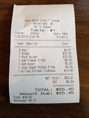 Wainwright, Canadá: Our receipt. Free refills on the pop (Pepsi products). Pricey additions to the plain burger.