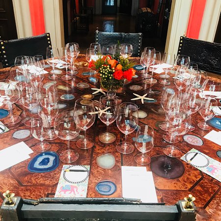 Swanson Vineyards Salon: Details of private tasting room's beautiful table and place settings