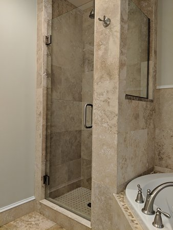 Glass walk-in shower next to BIG whirlpool tub in room #10 - Picture ...