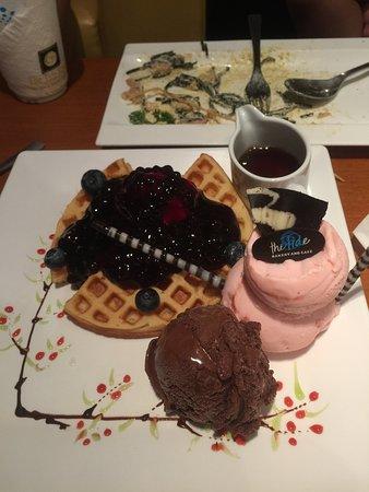 The Tide Bakery & Cafe: Signature Blueberry Waffle (3waffles) and additional chocolate ice-cream.