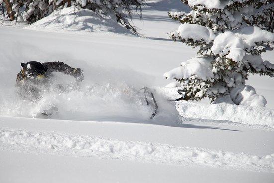 Saratoga Springs, Юта: Customer enjoying fresh powder snowmobiling in Utahs backcountry
