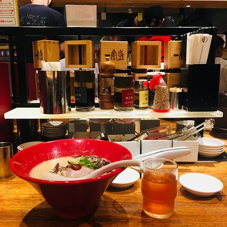 Ramen and water provided by restaurant