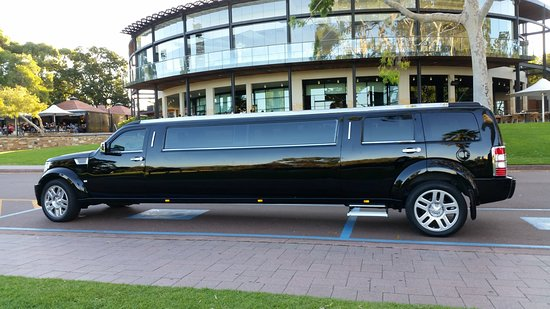 The Bling Limousines Black Dodge Nitro Stretch touring through Kings Park, Perth Western Austral