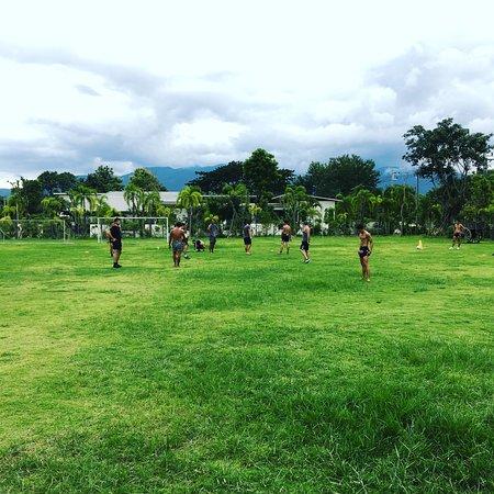 Bangarang Muay Thai and Fitness Camp Chiang Mai: trainer playing soccer