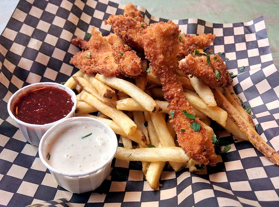 Chicken Strips With Fries Chipotle Bbq Sauce And Garlic Ranch Dip Picture Of Elephants Delicatessen Portland Tripadvisor