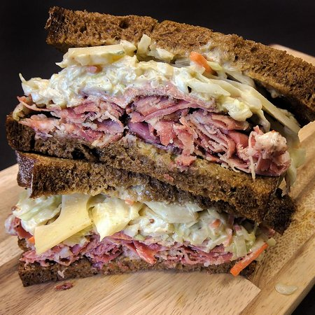 Pastrami and coleslaw with Swiss on Elephants homemade rye bread.