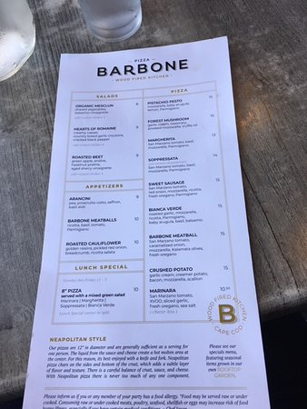 Pizza Barbone: The menu