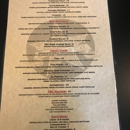Tecumseh, MI: Menu as of 7/27/18