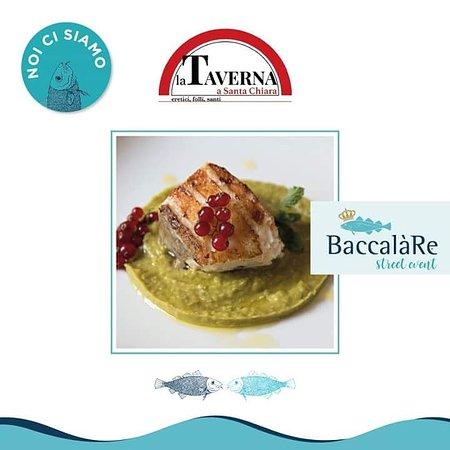 """La Taverna a Santa Chiara: Filetto di baccalà su crema di piselli """"centogiorni"""" con ribes e mentuccia"""