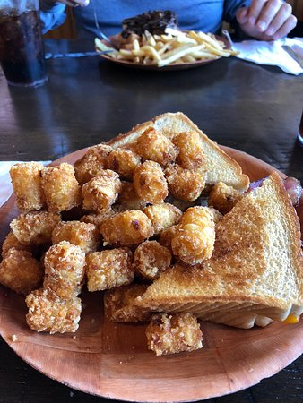 Pequot Lakes, MN: The chicken, bacon, ranch sandwich with tater tots. The tots are deep-fried and were very tasty.