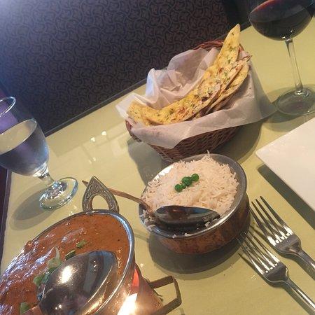 East India Grill: Lamb tikka garlic naan and cab!!! Score