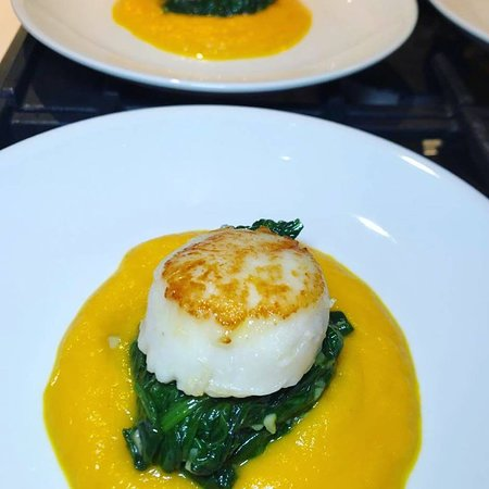 Favorite dish - sea scallop with spinach and carrot ginger puree
