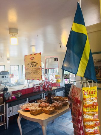 Swedish Candy Factory: Whimsical Swedish candy canes handmade in the shop plus a variety of other Swedish sweets to enj