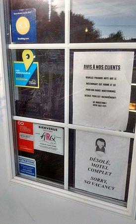 Plessisville, Kanada: Avis du restaurant fermé