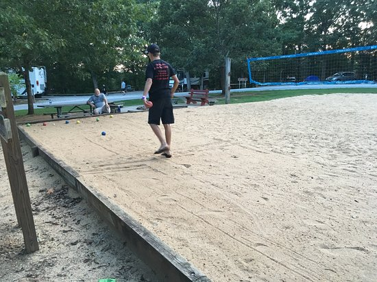 Royston, GA: Bocce Ball on the Volleyball court