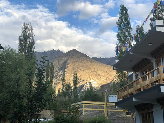 Diskit, India: View of monastery from the hotel