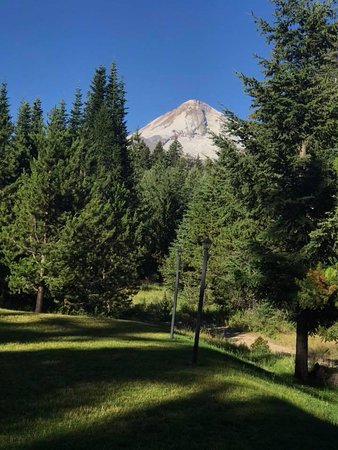 Cooper Spur Mountain Resort: View of Mt. Hood from back deck of private log home.