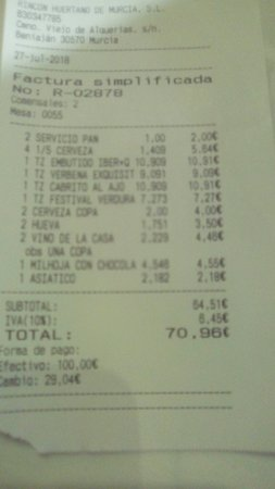 Beniajan, Spain: La factura de la cena