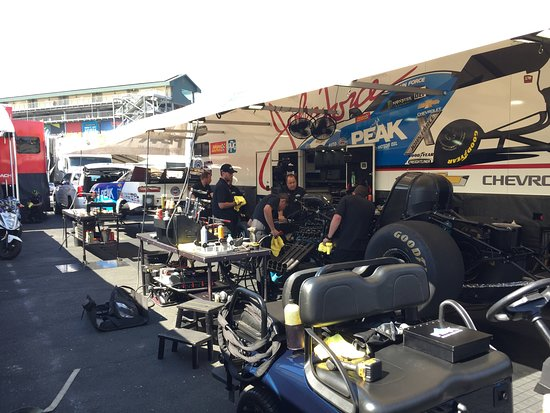 Sonoma Raceway: John Force's pit area, removable body sitting up front