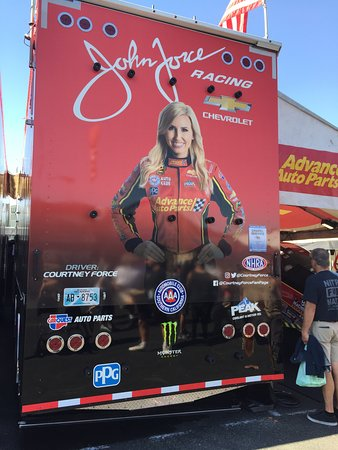 Sonoma Raceway: Back wall of Courtney Force's hauler