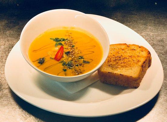 Oscar & Bentleys: Chefs Soup of the day.   Moroccan carrot & Chickpea Homemade Gluten Free bread
