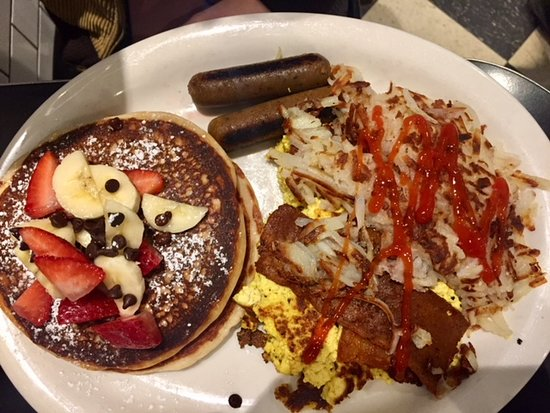 Champs Diner: grand slam with fruit, chocolate chips and tempeh bacon