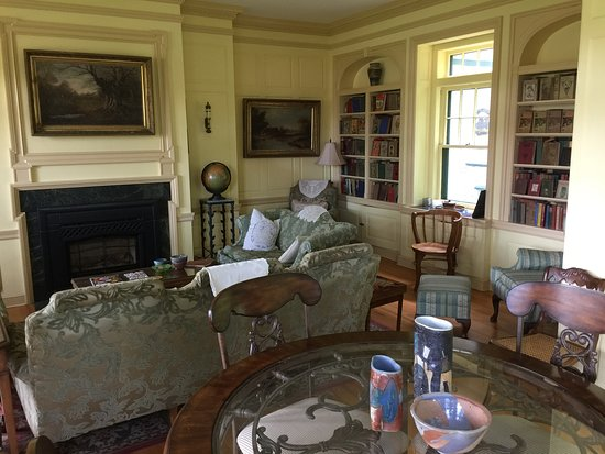 Deerwood, MN: Reading room showing fireplace.