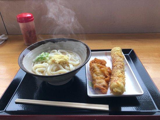 Shiwa-cho, Japan: あつあつ+天ぷら(とり天とちくわ)