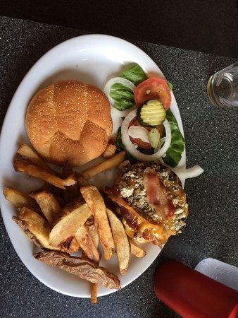Bleu Bacon Cheeseburger, steak fries and garnish at Triple J BBQ, Houston, AK