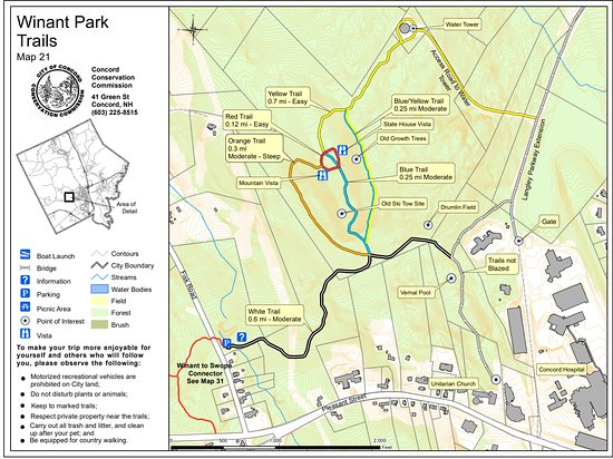 Concord, NH: Winant Park Trails  Map 21