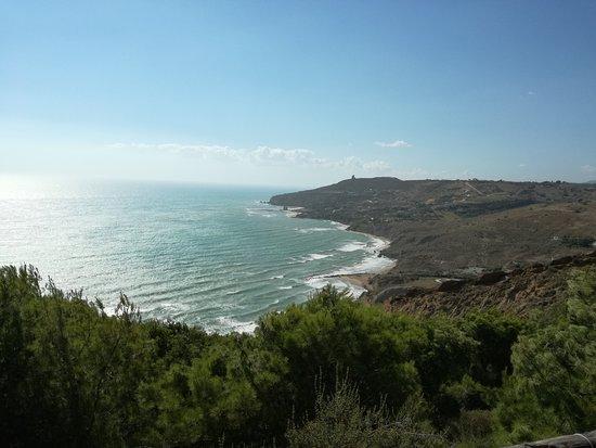 Vista dal faro di capo Rossello delle spiagge a oriente