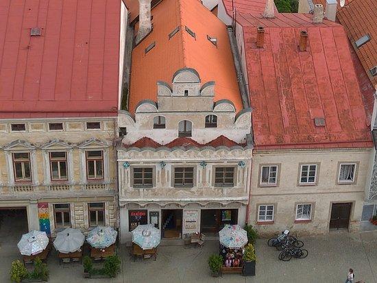 Slavonice, Česká republika: Hotel vom Kirchenturm
