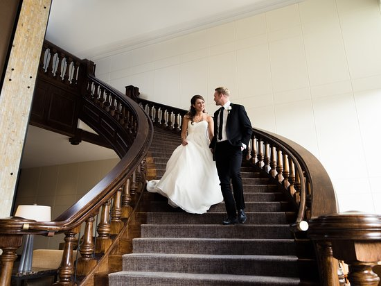Bride & Groom on Grand Staircase