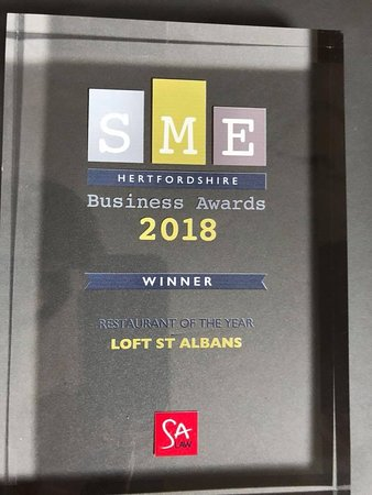 Loft has won Hertfordshire Restaurant of the Year 2018