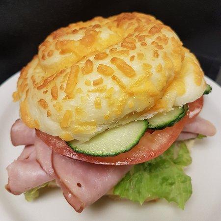 Weyburn, Καναδάς: Fresh baked cheese bun sandwich from the sandwich station