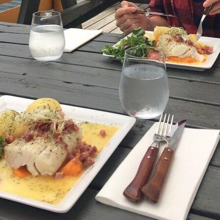 Underhuset Restaurant: Torsk med søtpotetpuré og bacon.