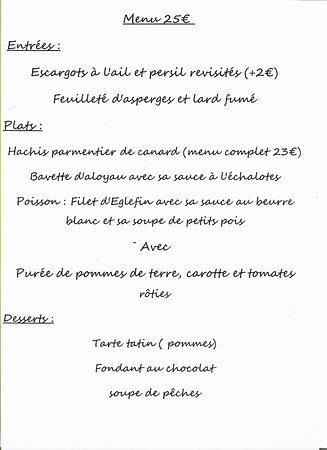 Varennes-les-Narcy, Γαλλία: menu
