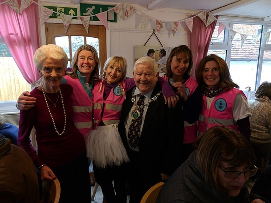 Otford, UK: Local walking group  'Every Step Counts' celebrates an anniversary at the tearoom