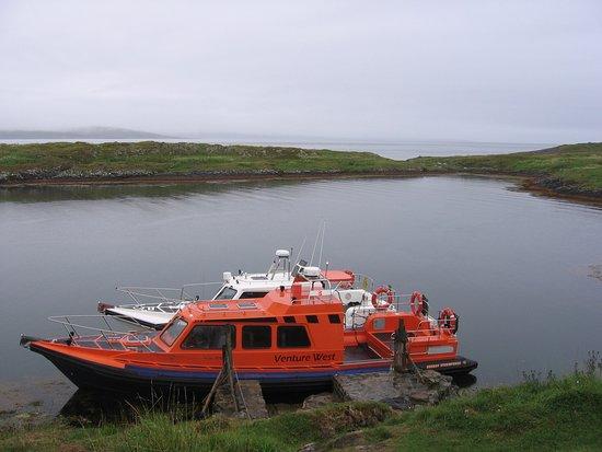 Corryvreckan Whirlpool: boats used in crossing to Jura at Mc Cormaig isle