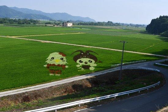 Yamagata Railway: 沿線にある田んぼアート