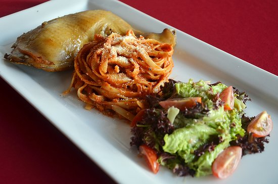 Lucaffe: My friend's roasted chicken with Pomodoro Pasta and Salad