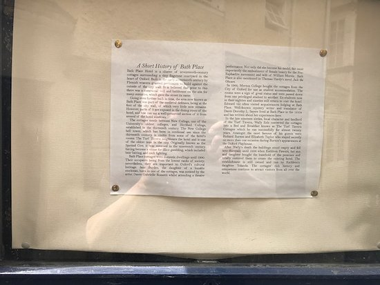 Bath Place Hotel: This history of the hotel is posted in the alley.