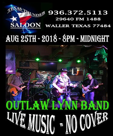 Waller, Техас: Red Dirt! No Cover - Live Music Aug 25 2018 Outlaw Lynn Band!