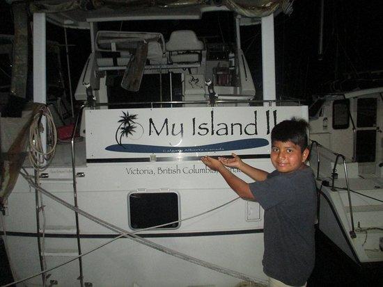 Oscar's Grill: His dream boat at Oscar's docks