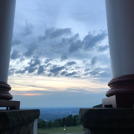 Views from The verandah restaurant at sunset at the historic Summit Inn