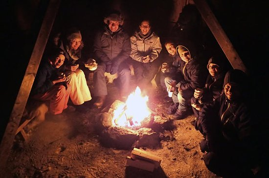 Evening Snowshoe Trip with a Campfire in Tromso